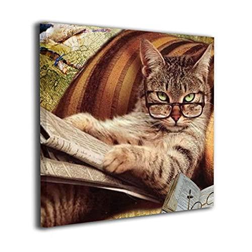 Cuadro en lienzo moderno Arte de la pared La imagen para la decoración del hogar - Gato divertido con periódico y gafas de sol Arte de pared sin marco Impresiones en lienzo Giclee listo para colgar