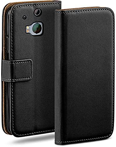 moex Klapphülle kompatibel mit HTC One M8 / M8s Hülle klappbar, Handyhülle mit Kartenfach, 360 Grad Flip Hülle, Vegan Leder Handytasche, Schwarz
