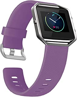 UMAXGET Compatible with Fitbit Blaze Bands with Metal Frame, Silicone Soft Sport Smartwatch Replacement Wristband for Men Women, Plum Band with Silver Frame