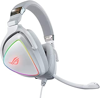 USB-C Gaming Headset for PC, Mac, PlayStation 4, Teamspeak, and Discord with Hi-Res ESS Quad-DAC, Digital Microphone, and Aura Sync RGB Lighting (Color : White)