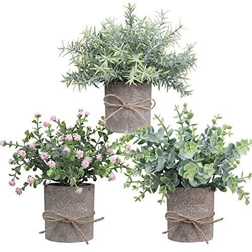 KunstPflanzen, Deko Pflanzen künstlich im Topf Eukalyptus, gefälschte Pflanzen wie echte 3er-Set für Schlafzimmer, Wohnzimmer,küch, Büro. (Satz A)