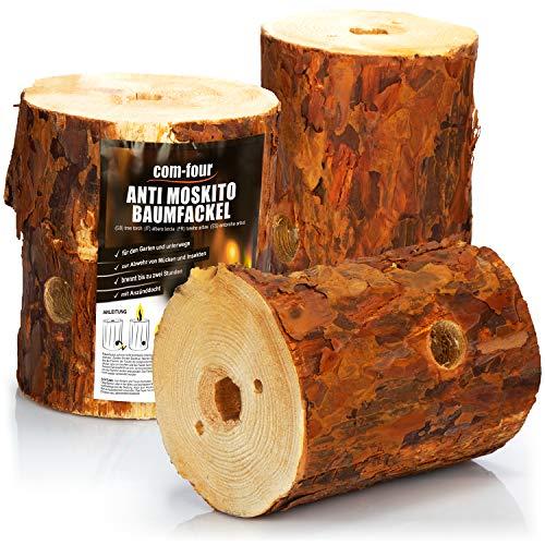 com-four® 3X Schwedenfeuer zur Abwehr von Mücken und Insekten, Anti Moskito Baumfackel mit Anzünddocht