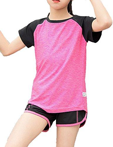 Echinodon Mädchen Sport Set Shirt + Shorts Schnelltrockend Anzug für Yoga Jogging Training Rosa 130