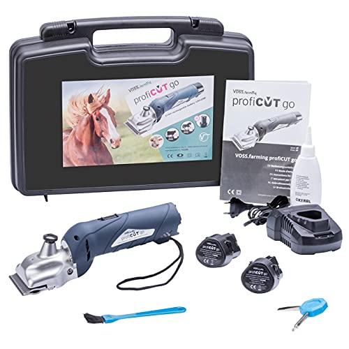 VOSS.farming profiCUT go Akku Schermaschine Blau, für Pferde inklusive Zwei Blockbatterien, extra leise und laufruhig, mit Aesculap Messersatz, Pferdeschermaschine Haarschneidemaschine
