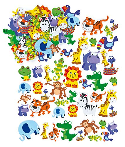 Baker Ross- Pegatinas de Espuma con Forma de Animales de la Selva (Pack de 96) Para decorar tarjetas, álbumes, collages infantiles