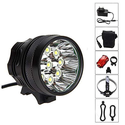 fgfh Fahrradlicht 18000LM 9X CREE XM-L T6 wasserdichtes Fahrradlicht, 3 Modi und 6x18650 Batterieladegerät Rücklicht