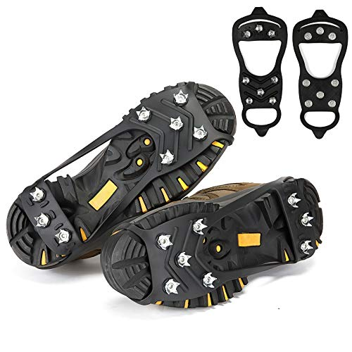 Crampons for Boots, crampons for Hiking and Anti-Skid, Walking Traction Cleats for Walking on Snow and ice, Upgraded Stainless Steel Cleats, The Best Choice for Winter Hiking Gear (L)