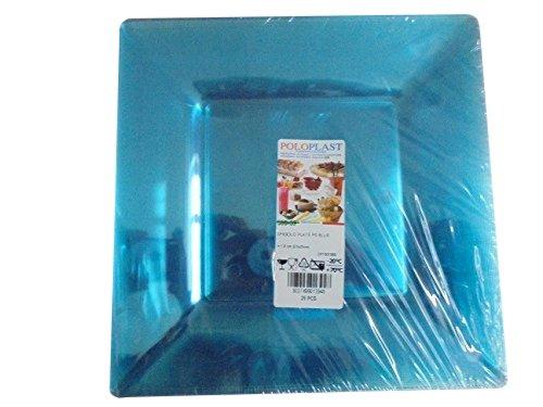 Lot de 25 assiettes plates, 23 x 23 cm, bleu transparent, pour apéritif, apéritif, apéritif, Happy Hour, hauteur 1,8 cm