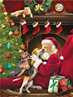 クロスステッチキット ダイヤモンドの クリスマスツリー老人犬猫 ギフト絵画クロスステッチホームデコレーション刺繍絵画5D DIYのダイヤモンド 50x60cm