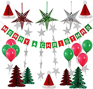 yotruth 25pcs Christmas Party Paper Decorations Indoor and Outdoor Include Handmade Paper Stars Latten Trees Honeycomb hat Balloons Christmas Banner