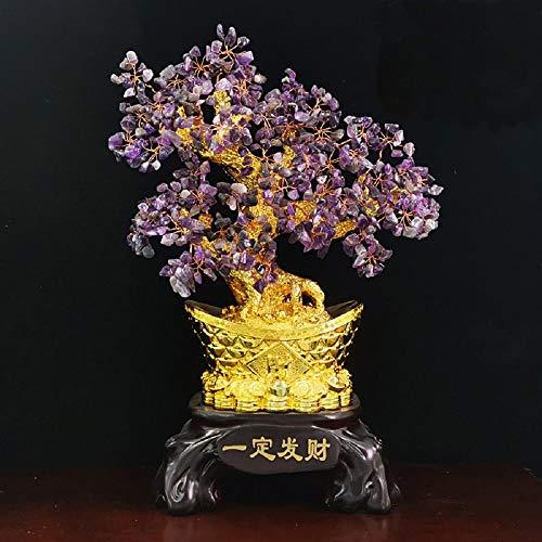Liergou Árbol del Dinero Resina Cristal árbol Conveniente for la Oficina Sala de Estar Sala de Estudio Mesa De Oficina En Casa Decoración Feng Shui (Color : Purple, Size : 37x17x43cm)