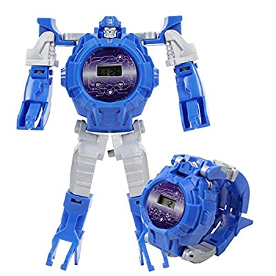 OLOPE Toy Robot Watch, Kids Transformation Robot Toys 2-in-1 Deformation Watch Toy Watch Robot, Educational Toy Game Watch, School Toy (Blue)