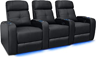 Valencia Verona Premium Top Grain 9000 Leather Power Recliner LED Lighting Home Theater Seating (Row of 3, Black)