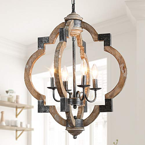 Farmhouse Chandelier, Orb Foyer Light Fixtures, 19.7'' Wood Chandelier for Hallway, Dining Room, Kitchen Island