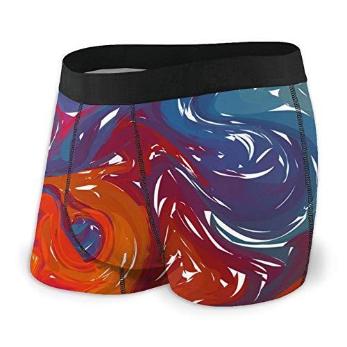Herren-Boxershorts, mehrfarbig, blau, orange, digitale Marmorierung, klassische Unterwäsche Gr. M, Schwarz