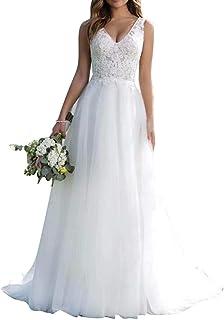 Abito da sposa lungo da donna, abito da sposa in tulle con scollo a V, linea A