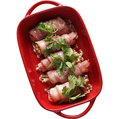 AWJ Bandeja de hornear binaural creativa platos occidentales rectangulares europeos para hornear horno placa de queso