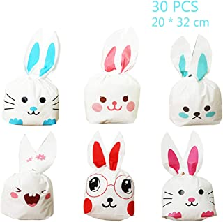 Jurxy 30PCS Halloween Bunny Candy Bags Easter Gift Wrap Bags Cookie Bread Cake Dessert Drawstring Pouch Pocket with Rabbit Ear for Party Favors Supplies -20x32CM