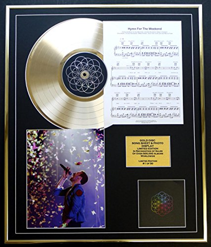 Coldlay/CD, Goldscheiben, Liedblätter & Foto, Display/LTD. Edition/COA/Album A Head Full of Dreams Song BOT HYMN FÜR DAS Wochenende
