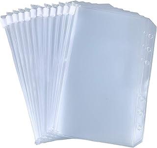 Antner 12pcs Binder Pocket A6 Size 6 Holes Binder Zipper Folders for 6-Ring Notebook Binder Loose Leaf Bags, Waterproof PV...