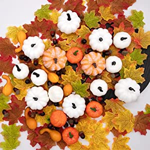 260pcs fall decorations for home | assorted harvest artificial pumpkins gourds maple leaves bulk | farmhouse fall halloween thanksgiving table decorations, home kitchen decor, fall wedding baby shower silk flower arrangements