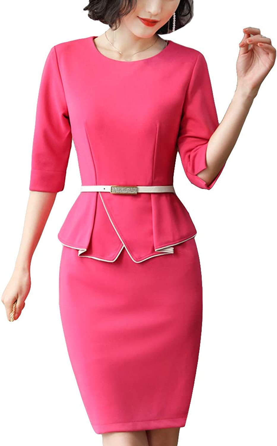 MFrannie Women Candy color Sophisticated Dress Suit Elegant Office Business Workwear