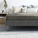 Classic Brands Claridge Upholstered Mattress Foundation | Platform Bed | Metal Frame with Wood Slat Support | Grey, Twin XL