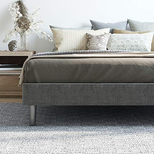 Classic Brands DeCoro Claridge Upholstered Platform Bed | Metal Frame with Wood Slat Support | Grey, California King