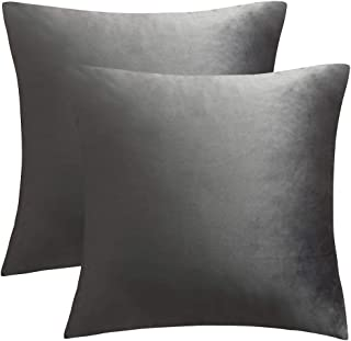 JUSPURBET Velvet Pillow Covers 26x26 Inches,Pack of 2 Throw Pillow Covers for Sofa Couch Bed,Decorative Super Soft Throw Pillows Cases,Grey