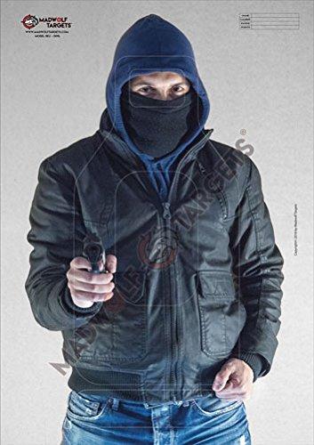 Madwolf Targets Silueta Realista para Tiro táctico y policial - Ladron, Atracador, Secuestrador con Arma (84,1 x 59,4 cm) (Pack 20 Siluetas)