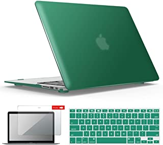 IBENZER MacBook Air 13 Inch Case, Soft Touch Hard Case Shell Cover with Keyboard Cover Screen Protector for Apple MacBook Air 13 A1369 1466 NO Touch ID, Peacock Green, MMA13LMGN+2