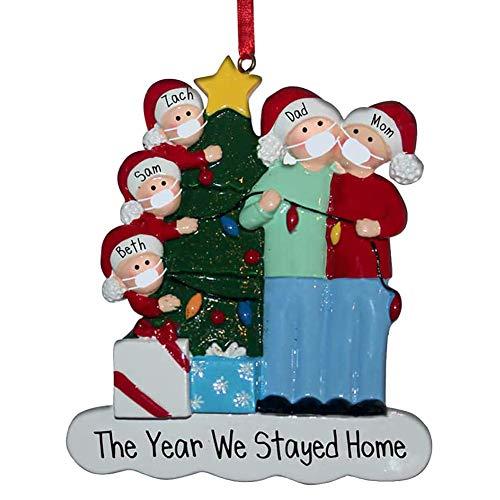 2020 Adorno navideño Decoraciones navideñas Familia de 5 Adornos navideños Colgantes para árbol de Navidad Decoración del hogar Nochebuena Familiar
