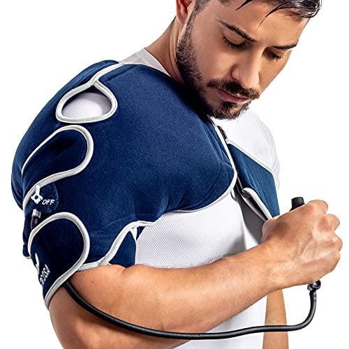 Medcosa - Hombrera con bolsa de gel frío para terapia de compresión   Hombrera inflable para tratar lesiones del manguito rotador   Compresión para aliviar el dolor