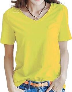 [PEACE LAND(ピースランド)] Vネック tシャツ 半袖 おしゃれ ベーシック トップス 白 黒 灰 赤 黄 S~2XL レディース