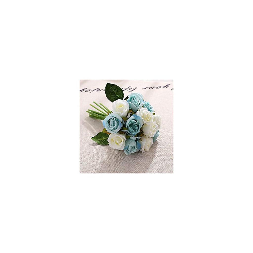 Misscany 12s Wedding Bouquet White Green Rose Artificial Bridal Bouquet Blue Wedding Accessories Bridesmaids Flower Mariage Supplies,White Blue