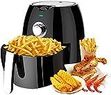 YJDQ Freidora sin Aceite 2.6L Capacidad de Red Screen Smart Home Baja en Grasa Compacta Freidora de un Toque Saludable Digital para Cocinar,Hornear Y Asar,Negro