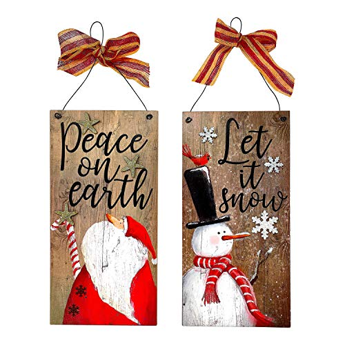 Transpac S/2 Santa & Snowman Christmas Holiday New Year Decoration Wood & Metal Signs/Peace On Earth & Let It Snow / 16' x 8'