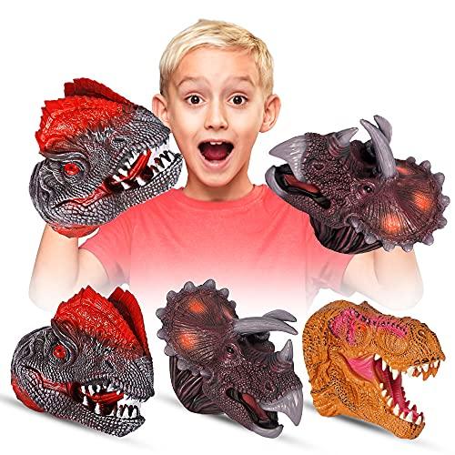 Modalf Dinosaur Toys Hand Puppet ,Dinosaur Claws Head Soft Rubber, Triceratops, Tyrannosaurus,Double...