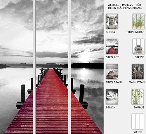 EFIXS 3er Set Flächenvorhang - Motiv Steg Rot - halbtransparent und lichtdurchlässig - Paneelbreite: 60 cm x H: 245 cm - Gesamt 180 x 245 cm - incl. Flauschband, Paneelwagen und Beschwerungsprofil