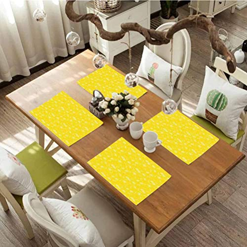 Dining Table Decoration Placemats Table Mats Yellow Juicy Lemons Citrus Fresh Slices with Leaves and Dots Health Vitamins Food Pattern Heat-Resistant Washable Place Mats Set Of 4 Yellow White