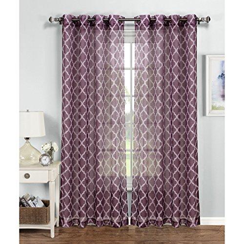 Window Elements Quatrefoil Printed Sheer Extra Wide 54 x 96 in. Grommet Curtain Panel, Plum/Grey