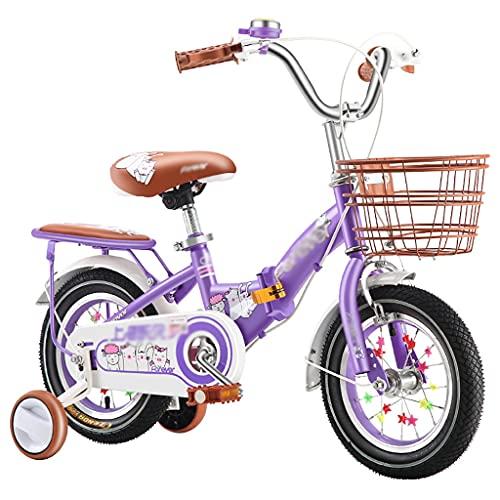 Durable 12 '14' Bicicleta para niños plegables, marco de acero al carbono, neumáticos neumáticos antideslizantes, manillar y altura del asiento ajustables, mejores regalos para niños y niñas (púrpura)