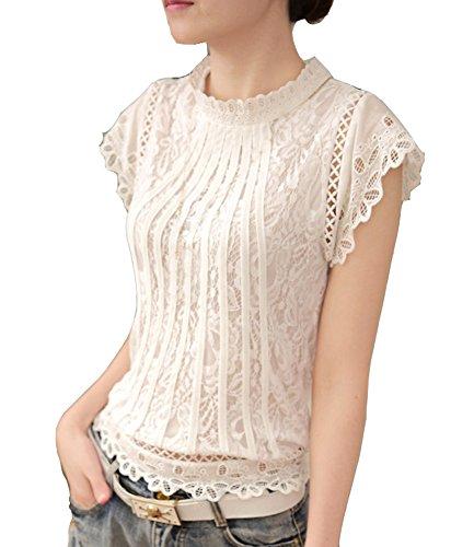 Cheerlife Elegant Damen T-Shirt Spitze Langarmshirt/Kurzarmshirt Spitzenshirt Top Bluse Shirt Tunika Hemd XL Weiß