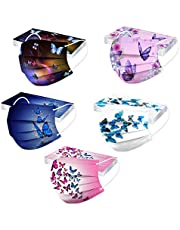 50Pcs Butterfly Print Disposable Facemask for Adults Women with Designs PaperMasks 3 Ply Breathable Non Woven Face Guard