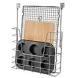 SANNO Cabinet Door Organizers and Storage Organizer Holder Stainless Steel Basket Hang Over Cabinet Doors in Kitchen - Holds Bakeware, Cookbook, Cleaning Supplies