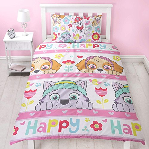 Paw Patrol Bright Girls Single Duvet Cover | Reversible Two Sided Design | Kids Bedding Set Includes Matching Pillow Case