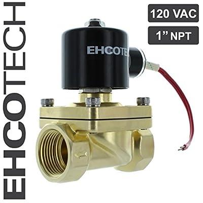 "EHCOTECH 1"" NPT 110V 120V AC Solenoid Valve, Brass Body, Water Air Gas NC 1 inch from EHCOTECH"