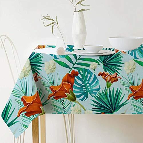 GWELL Mantel de lino con plantas verdes, fácil de limpiar, rectangular, muchos tamaños a elegir, 100 x 140 cm