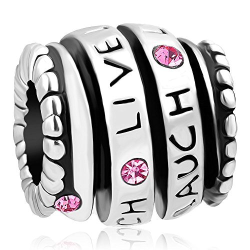 UNIQUEEN Live Love Laugh Charm Pink Crystal Charm Spiral Bead fit Charms Bracelet