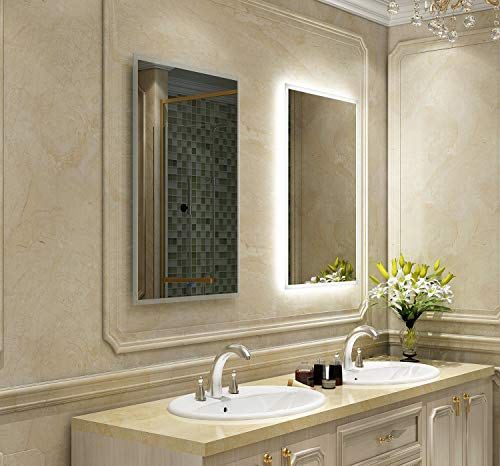 DIYHD FLB W24 X H32 Box Diffusers Led Backlit Vanity Square Wall Mount Bathroom Finger Touch Light Mirror, W24XH32